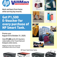 Get P1,500 E-Voucver for every purchase of HP Smart Tank